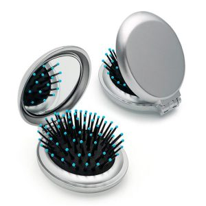 Metallic Coloured Folding Brush and Compact Mirror Silver