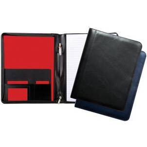 A4 leather zip round folder and pad
