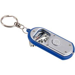 Key ring bottle opener with light