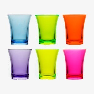 Reusable coloured shot glasses
