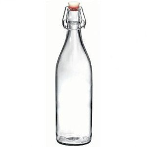 Re-useable round flip top glass bottle