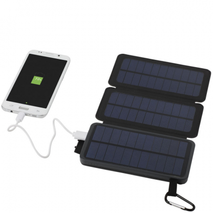 Black 8000 mAh Solar Power Bank