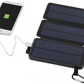 Black 8,000 mAh Solar Power Bank with