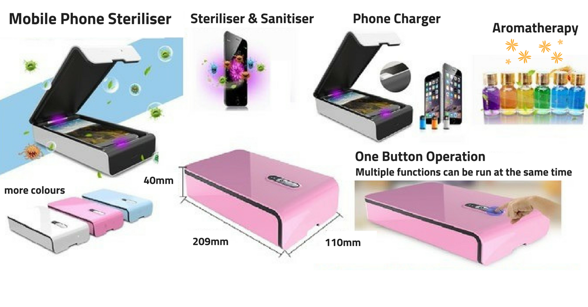 Mobile phone steriliser images and functions