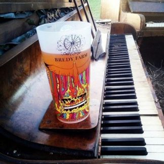 Reusable Full-colour Plastic Cup sitting on a Pub Piano