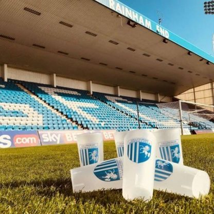Reusable Full-colour Plastic Cups. Full-Pint Gillingham Football Club Cups on the Pitch